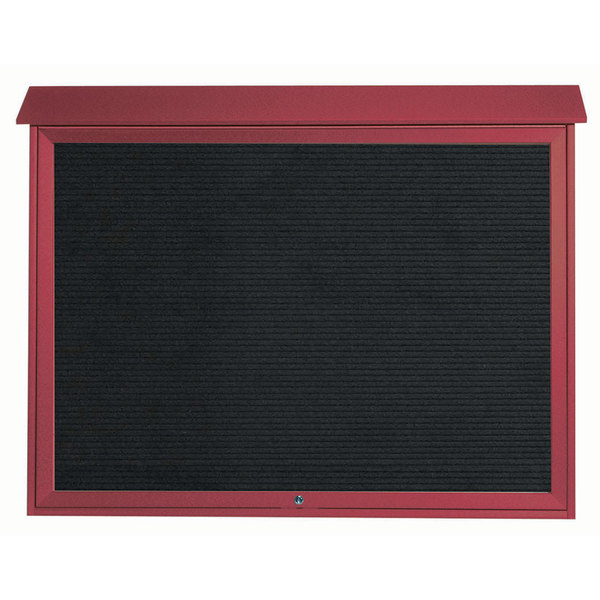 """Aarco PLD4052TL-7 40"""" x 52"""" Rosewood Outdoor Plastic Lumber Message Center with Letter Board - Single Top Hinged Door"""