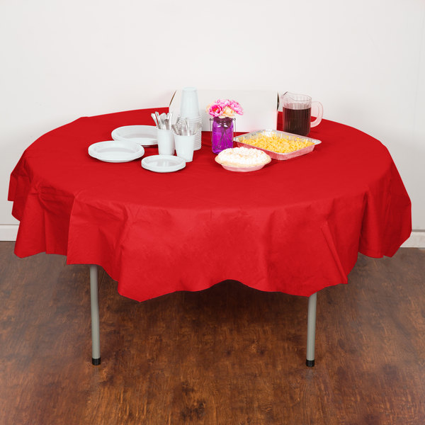 "Creative Converting 923548 82"" Classic Red OctyRound Tissue / Poly Table Cover - 12/Case"