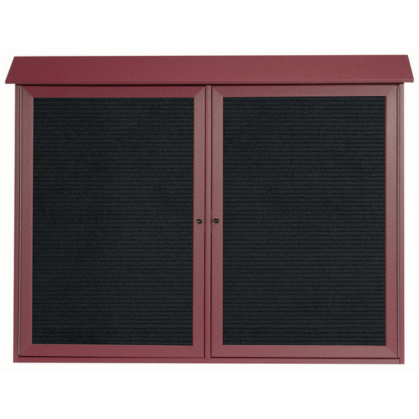 """Aarco PLD4052-2L7 40"""" x 52"""" Rosewood Outdoor Plastic Lumber Message Center with Letter Board - Dual Hinged Doors"""