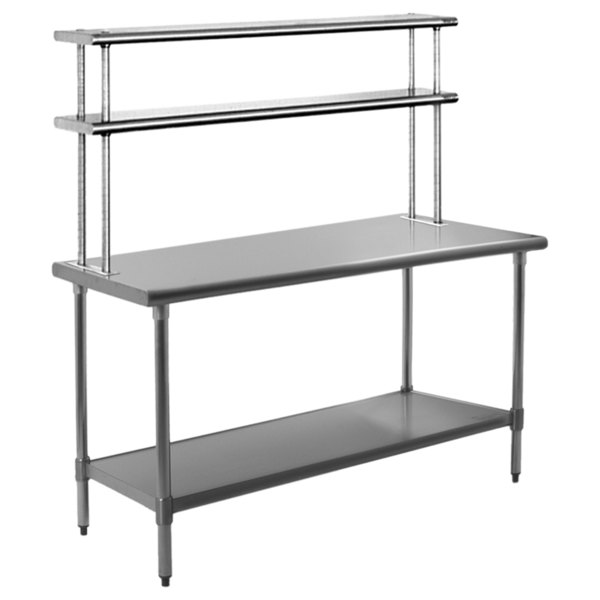 """Eagle Group T3072SB-FM 30"""" x 72"""" Stainless Steel Work Table with Flex-Master Overshelf Kit"""