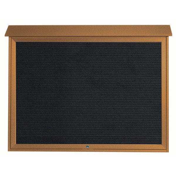 "Aarco PLD4052TL-5 40"" x 52"" Cedar Outdoor Plastic Lumber Message Center with Letter Board - Single Top Hinged Door"