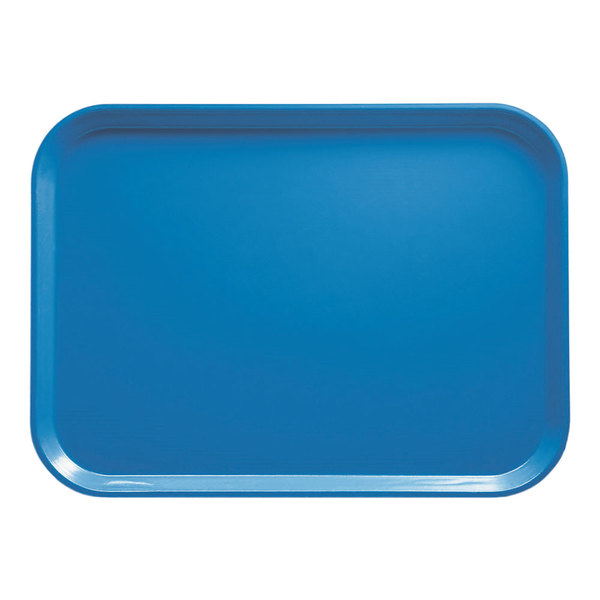 "Cambro 1520105 15"" x 20 1/4"" Rectangular Horizon Blue Customizable Fiberglass Camtray - 12/Case"