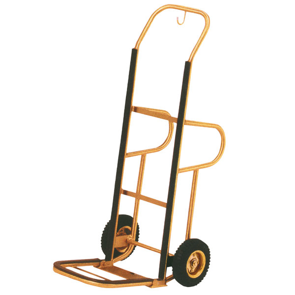 "Aarco HT-1B Bellman's Stainless Steel Brass Finish Luggage Cart / Hand Truck - 15"" x 15"" x 48"" Main Image 1"