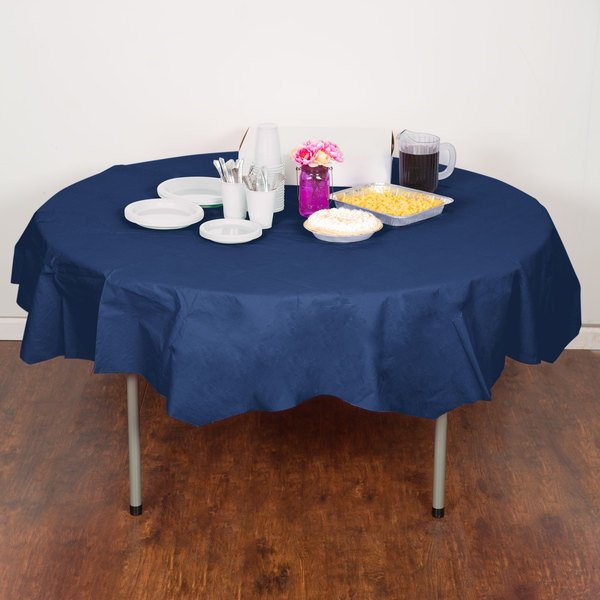 "Creative Converting 923278 82"" Navy Blue OctyRound Tissue / Poly Table Cover - 12/Case Main Image 4"