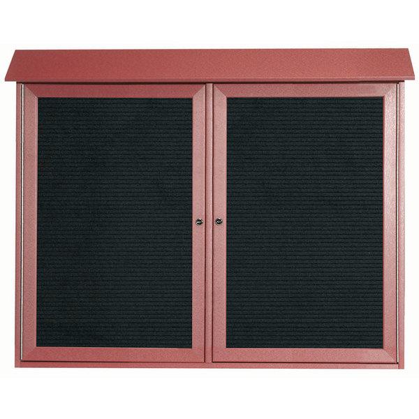 Aarco PLD3645-2L7 36\  x 45\  Rosewood Outdoor Plastic Lumber Message Center with Letter Board - Dual Hinged Doors  sc 1 st  WebstaurantStore & Aarco PLD3645-2L7 36\