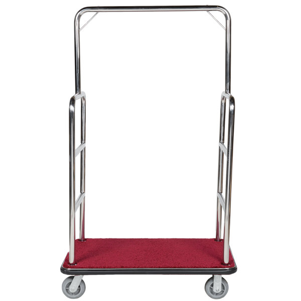 """Aarco LC-1C Rectangular Stainless Steel Chrome Finish Luggage Cart with Clothing Rail - 42"""" x 24"""" Platform Main Image 1"""
