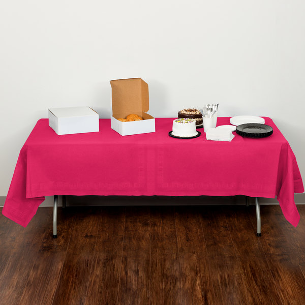 """Creative Converting 710205B 54"""" x 108"""" Hot Magenta Pink Tissue / Poly Table Cover - 24/Case"""