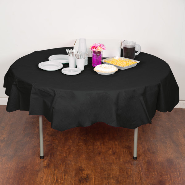 "Creative Converting 923260 82"" Black Velvet OctyRound Tissue / Poly Table Cover - 12/Case"