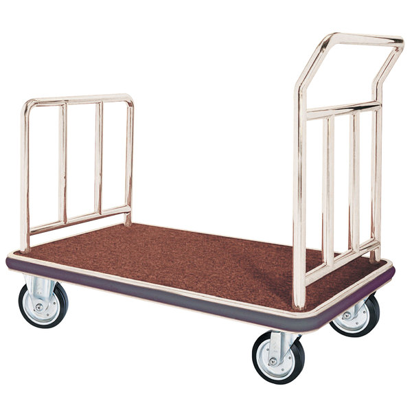 """Aarco FB-1C Stainless Steel Chrome Finish Luggage Cart - 42"""" x 24"""" x 36"""" Main Image 1"""