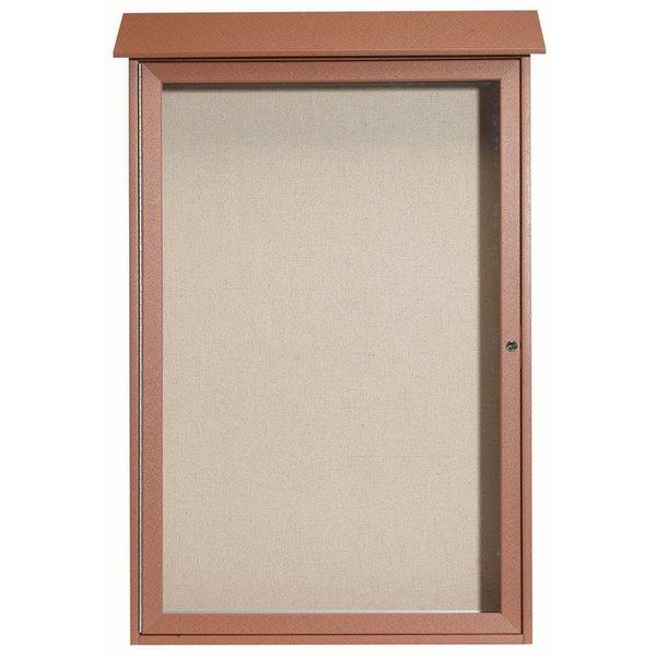 """Aarco PLD4832-5 48"""" x 32"""" Cedar Outdoor Plastic Lumber Message Center with Vinyl Tackboard - Single Hinged Door"""