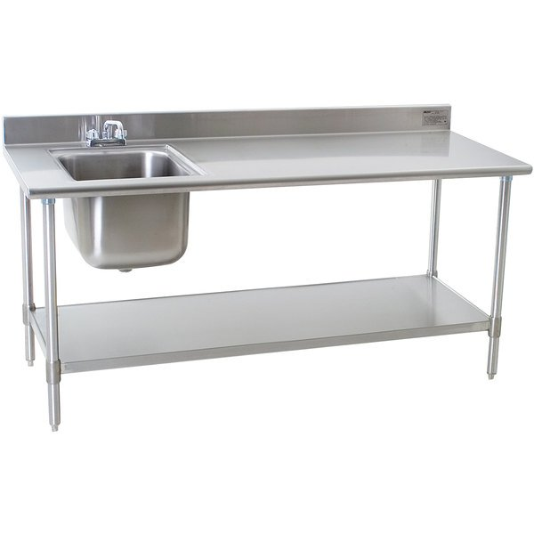 "Sink on Left Eagle Group T3072SEB-BS-E23 30"" x 72"" Stainless Steel Deluxe Work Table with Sink"