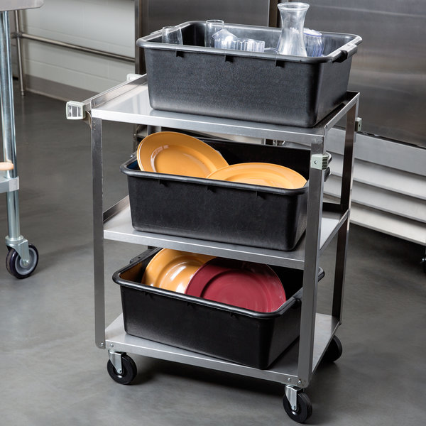 "Stainless Steel 3 Shelf Utility Cart - 27 1/2"" x 15 1/2"" x 33"" Main Image 3"