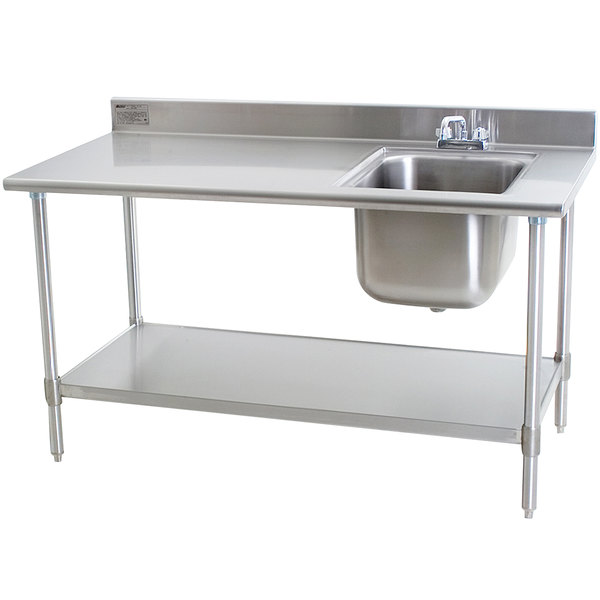 "Sink on Right Eagle Group T3060SEB-BS-E23 30"" x 60"" Stainless Steel Deluxe Work Table with Sink"