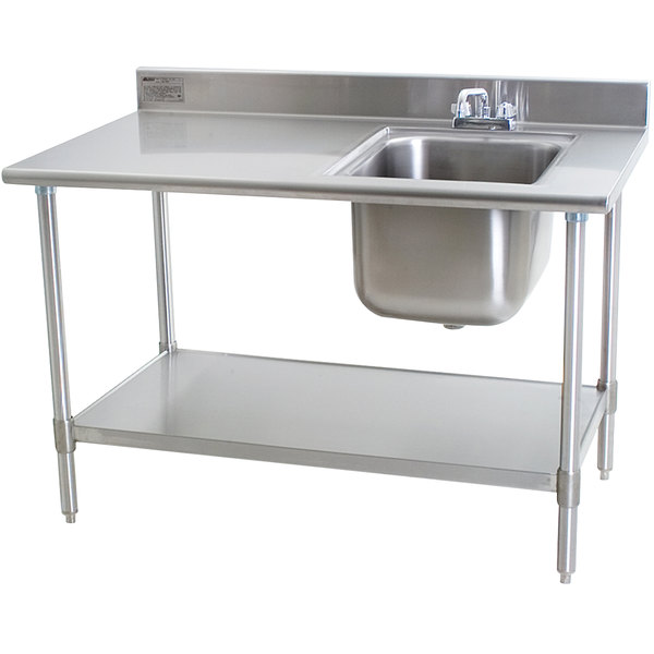 """Sink on Right Eagle Group T3048SEB-BS-E23 30"""" x 48"""" Stainless Steel Deluxe Work Table with Sink"""