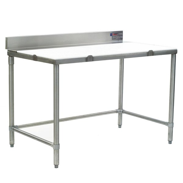 """Eagle Group CT3048S-BS 30"""" x 48"""" Poly Top Cutting Table with Backsplash"""