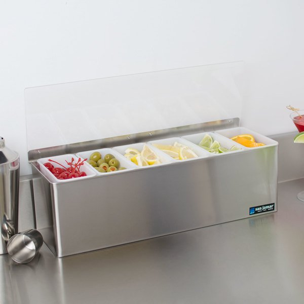 San Jamar B6186L EZ-Chill 6-Compartment Stainless Steel Condiment Bar