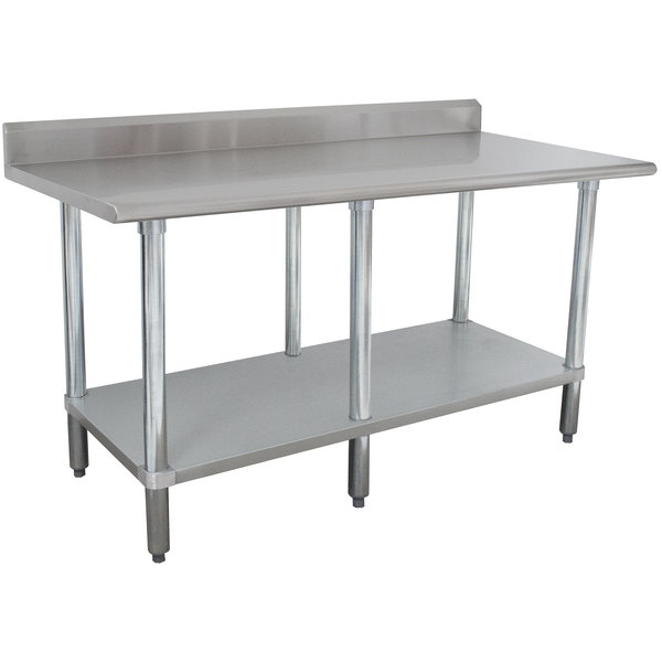"Advance Tabco KMSLAG-308-X 96"" x 30"" 16 Gauge Stainless Steel Work Table with Undershelf and Backsplash"
