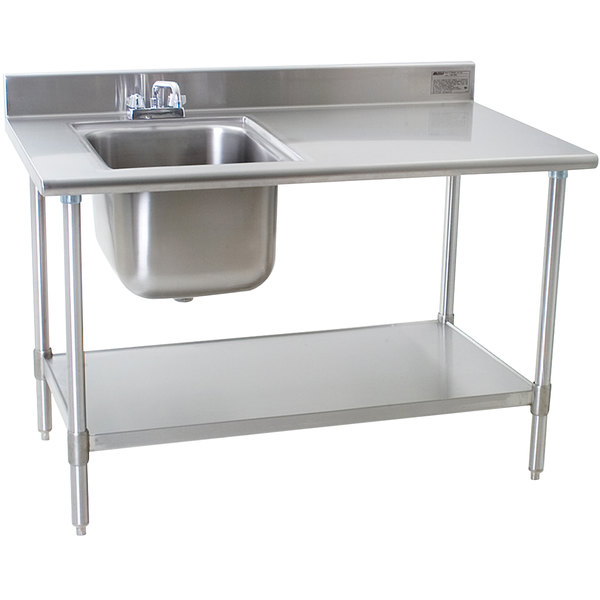 """Eagle Group T3048SEB-BS-E23 30"""" x 48"""" Stainless Steel Deluxe Work Table with Sink Main Image 1"""