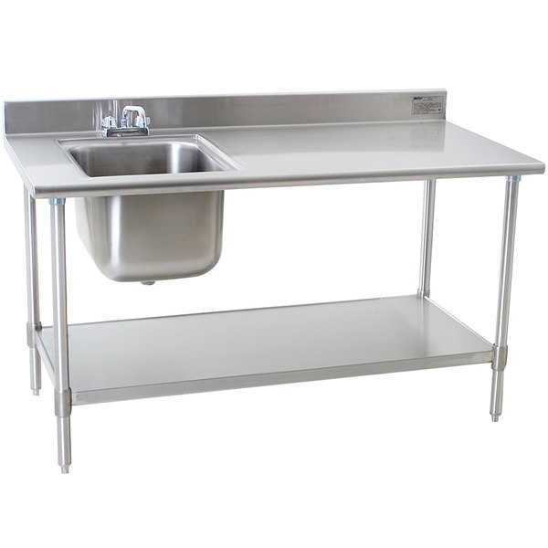 """Eagle Group T3060SEB-BS-E23 30"""" x 60"""" Stainless Steel Deluxe Work Table with Sink"""