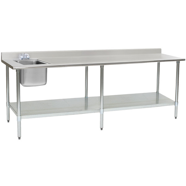 """Eagle Group T3096SEB-BS-E23 30"""" x 96"""" Stainless Steel Deluxe Work Table with Sink"""