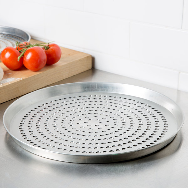 """American Metalcraft SPTDEP10 10"""" x 1"""" Super Perforated Tin-Plated Steel Tapered / Nesting Deep Dish Pizza Pan"""