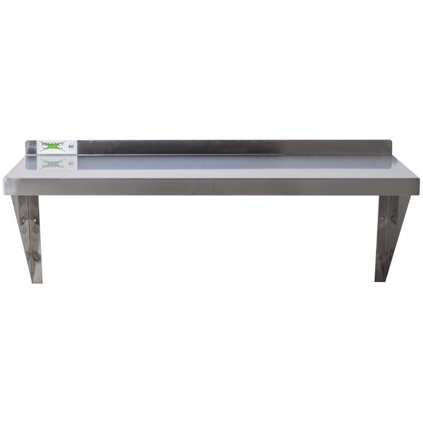Add more storage space to your kitchen with the Regency 16 gauge stainless  steel 18 x 48 heavy-duty wall shelf.