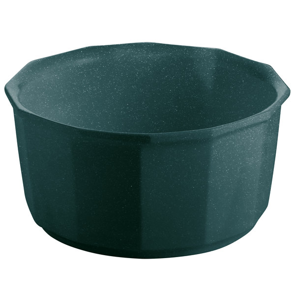 Tablecraft CW1790HGNS 2.5 Qt. Hunter Green with White Speckle Cast Aluminum Prism Bowl