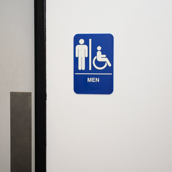 "ADA Men's Restroom Sign with Braille - Blue and White, 9"" x 6"""