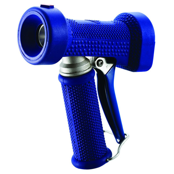 """T&S MV-2516-21 Stainless Steel Rear Trigger Water Gun with Blue Rubber Cover, 5/16"""" Flow Orifice, 1/2"""" Hose Barb, and 1/2"""" NPT Threads"""