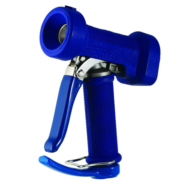 """T&S MV-2522-44 Stainless Steel Front Trigger Water Gun with Blue Rubber Cover, 9/16"""" Flow Orifice, and 1/2"""" NPT Threads Main Image 1"""