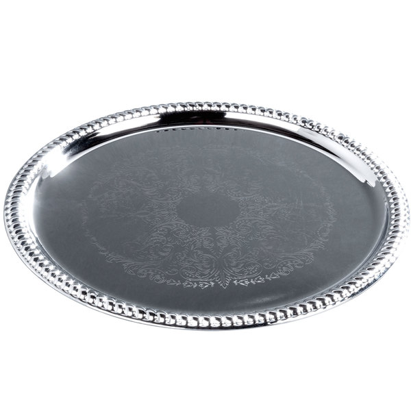 """14"""" Round Chrome-Plated Buffet Catering Tray"""