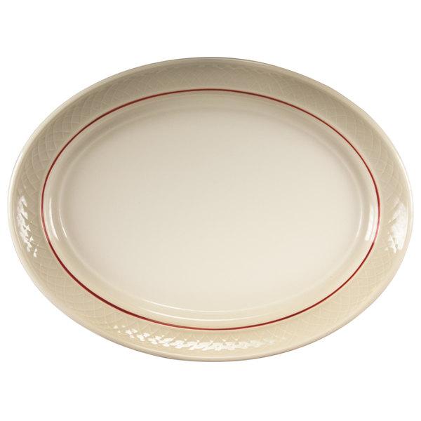 "Homer Laughlin 1492-0352 Gothic Maroon Jade 11 1/2"" Off White Oval Platter - 12/Case"