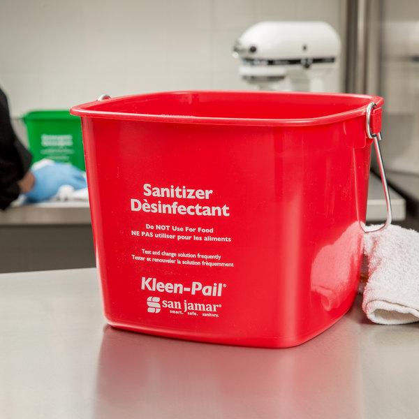 San Jamar KP256RD 8 Qt. Red Sanitizing Kleen-Pail