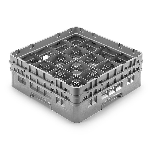 "Cambro 16S958-151 Camrack Customizable 10 1/8"" High Customizable Gray 16 Compartment Glass Rack"