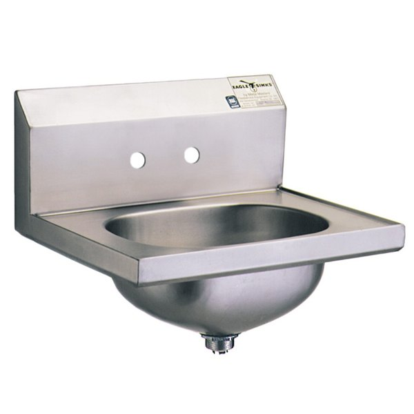 """Eagle Group HSA-10-MG MicroGard Hand Sink with 4"""" Faucet Center Holes and Basket Drain"""