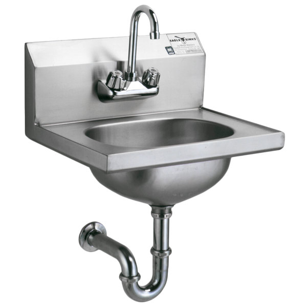 Eagle Group HSA-10-FA Hand Sink with Gooseneck Faucet, P-Trap, Tail Piece, and Basket Drain
