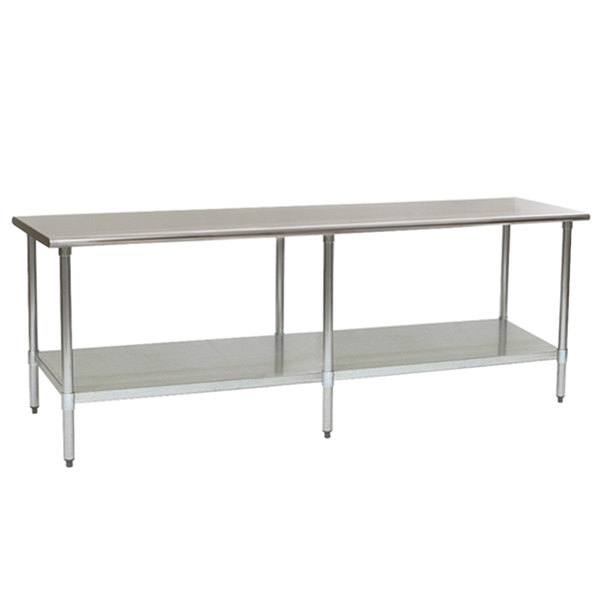 """Eagle Group T30120EB 30"""" x 120"""" Stainless Steel Work Table with Galvanized Undershelf"""