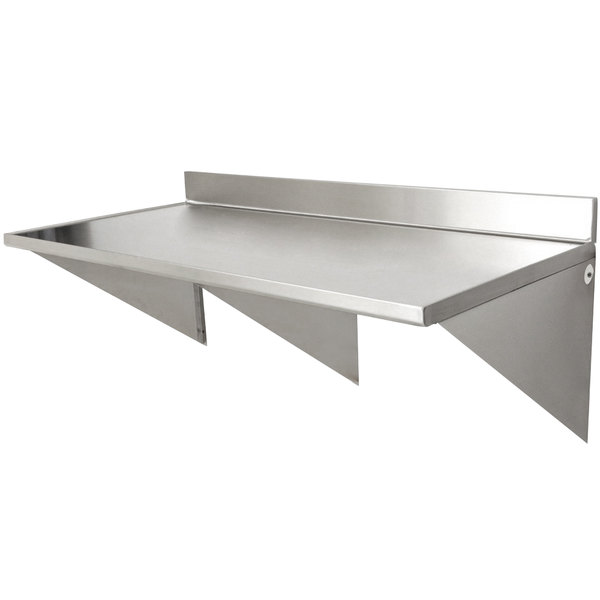 """Eagle Group UWT3048SEM 30"""" x 48"""" Stainless Steel Wall Mounted Table with Backsplash Main Image 1"""