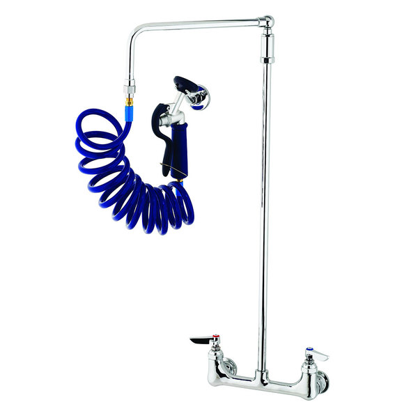 """T&S PG-8WOAV-06 Wall Mount Pet Grooming Faucet with 8"""" Centers, 6"""" Add On Nozzle, Aluminum Spray Valve, 9' Coiled Hose, 6"""" Wall Bracket, Overhead Swing Assembly, and Vacuum Breaker"""