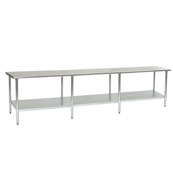 """Eagle Group T24144EB 24"""" x 144"""" Stainless Steel Work Table with Galvanized Undershelf"""