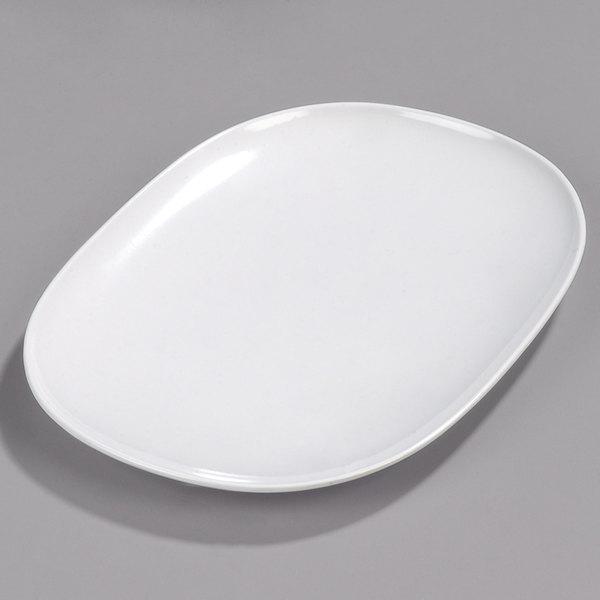 Carlisle 4384202 14 X 10 White Oblong Melamine Platter 12 Case