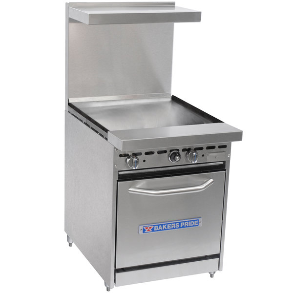 "Bakers Pride Restaurant Series 24-BP-0B-G24-S20 Liquid Propane Range with Space Saver 20"" Oven and 24"" Griddle"