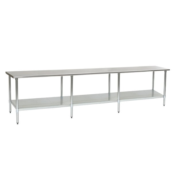 "Eagle Group T36132B 36"" x 132"" Stainless Steel Work Table with Galvanized Undershelf"
