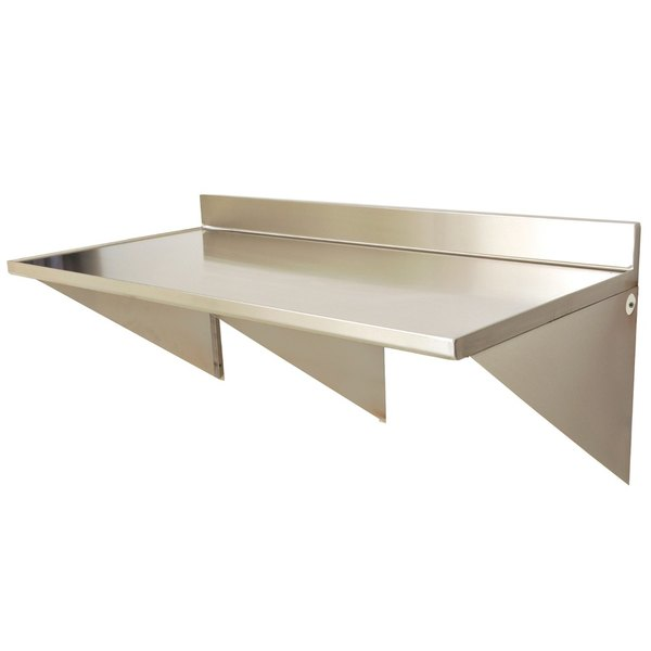 """Eagle Group WT3072SEM-BS 30"""" x 72"""" Stainless Steel Wall Mounted Table with Backsplash Main Image 1"""