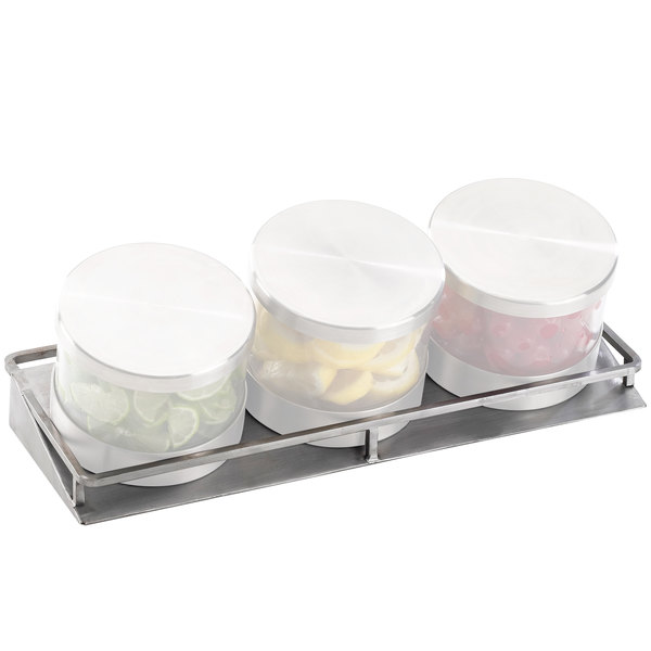 "Cal-Mil C18504 Mixology Stainless Steel Replacement Stand for 16 oz. Jars - 13 1/2"" x 5"" x 1 3/4"""