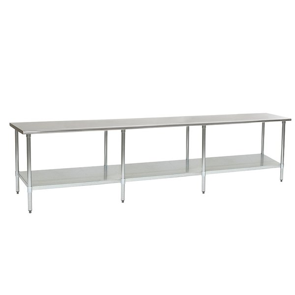 """Eagle Group T30132B 30"""" x 132"""" Stainless Steel Work Table with Galvanized Undershelf"""