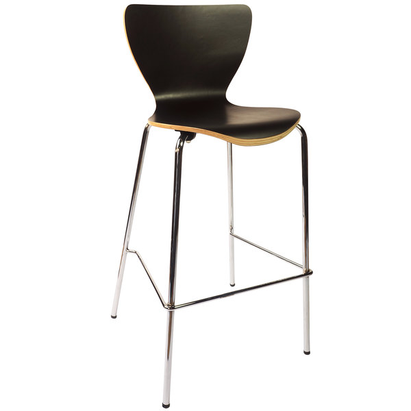 BFM Seating JA602BS-BL Leo Chrome Bar Height Chair with Black Laminate Seat and Back Main Image 1
