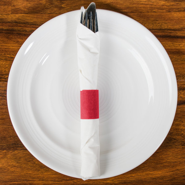 Red Self-Adhering Paper Napkin Band - 20000/Case