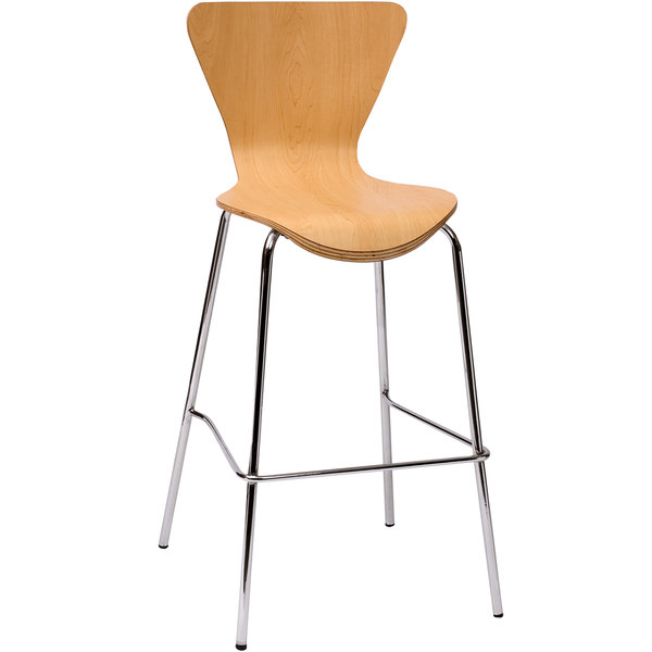 BFM Seating JA602BS-NT Leo Chrome Bar Height Chair with Natural Laminate Seat and Back Main Image 1