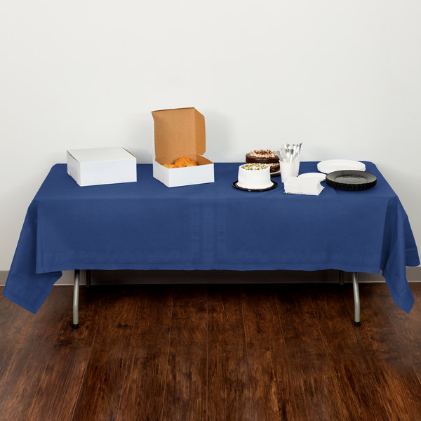 """Creative Converting 710242B 54"""" x 108"""" Navy Blue Tissue / Poly Table Cover - 24/Case"""